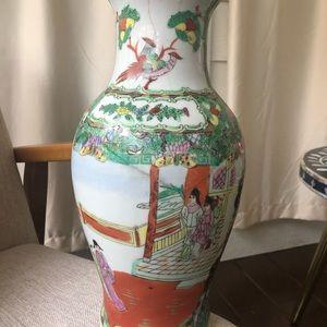 Vintage Accents - As is Vintage Rose Familie Asian large floral vase